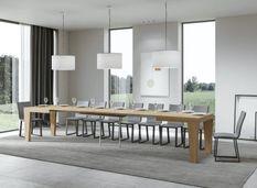 Table extensible chêne naturel 6 à 20 personnes L 160 à 420 cm Kristo