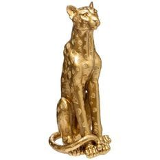 Statue léopard grand modele - H90 cm - Doré