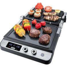 STEBA 187200 FG120 Grill de contact - 1800 W - Surface de cuisson antiadhésive: 2 x 27 x 24 cm - Inox et noir