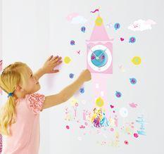 Stickers Horloge Princesse Disney