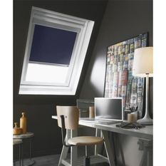 Store de fenetre de toit occultant bleu VELUX C02/C04 - L.55 x H.98 cm - MADECO