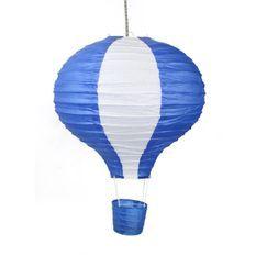 Suspension Papier Montgolfiere enfant bleu
