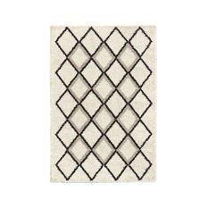 SUZAN Tapis de salon Shaggy - Style berbere - 150 x 220 cm - Creme et gris - Motif géométrique
