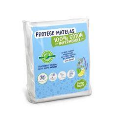 SWEET NIGHT Protege matelas imperméable anti-acariens traitement végétal Greenfirst - 90 x 190/200 cm - Blanc