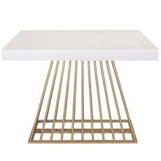 Table extensible bois blanc et pieds métal doré 4 à 10 personnes L 100 à 240 cm Loïs