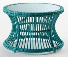 Table à café de jardin ronde verre et rotin synthétique bleu Maku