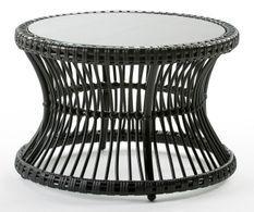 Table à café de jardin ronde verre et rotin synthétique noir Maku