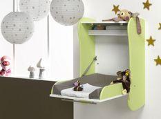 Table à langer murale bois vert anis et blanc Flore