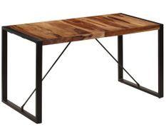 Table à manger bois de Sesham et pieds acier noir Vustick 160 cm