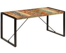 Table à manger bois reconditionné et pieds acier noir Unik 140 cm