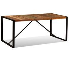 Table à manger bois reconditionné et pieds acier noir Unik 180 cm