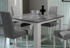 Table à manger carrée bois brillant gris et blanc Sting