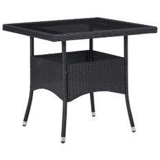 Table à manger d'extérieur Noir Résine tressée et verre