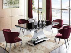 Table à manger design acier chromé et noir trempé Dazer 180 cm