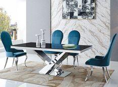 Table à manger design acier poli et verre trempé noir Diza 180 cm