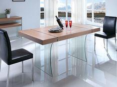 Table à manger design verre trempé et bois foncé Sella 160 cm