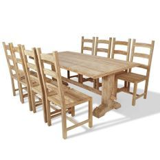 Table à manger et 8 chaises teck blanchi Jarko