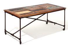 Table à manger manguier massif et pieds métal noir Vinta 180 cm