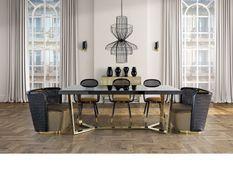 Table à manger design pieds acier doré et plateau miroir noir Oliva 200 cm