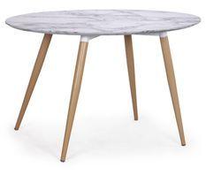 Table à manger ovale effet marbre blanc Sicca 130 cm