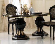 Table à manger ovale extensible bois laqué noir et doré Leslie