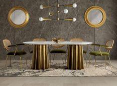 Table à manger ovale marbre blanc et pied métal doré Mensa 200 cm