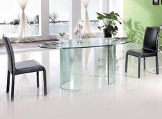 Table à manger ovale verre transparent Tara 180 cm