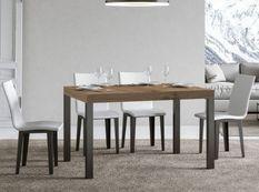 Table à manger rectangulaire bois clair et métal anthracite Evy 160 cm