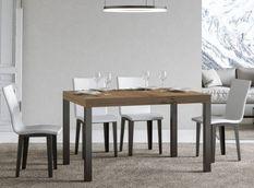 Table à manger rectangulaire bois clair et métal anthracite Evy 180 cm