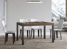 Table à manger rectangulaire bois foncé et métal anthracite Evy 130 cm