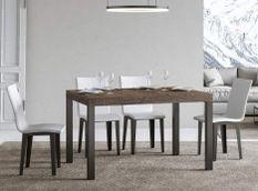 Table à manger rectangulaire bois foncé et métal anthracite Evy 160 cm
