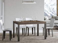 Table à manger rectangulaire bois foncé et métal anthracite Evy 180 cm