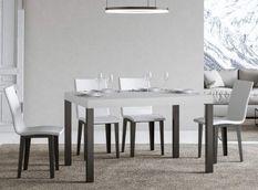 Table à manger rectangulaire frêne blanc et métal anthracite Evy 160 cm