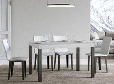 Table à manger rectangulaire frêne blanc et métal anthracite Evy 180 cm