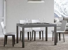 Table à manger rectangulaire gris béton et métal anthracite Evy 160 cm