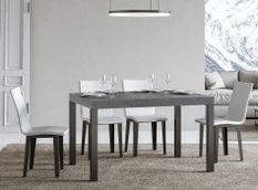 Table à manger rectangulaire gris béton et métal anthracite Evy 180 cm