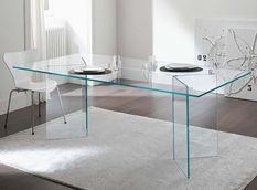 Table à manger rectangulaire verre trempé Hasmi 180 cm