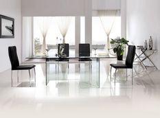 Table à manger rectangulaire verre trempé Hasmi 200 cm