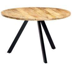 Table à manger ronde bois de manguier et fer noir Fog 120