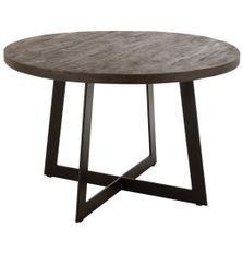 Table à manger ronde bois manguier foncé et pieds métal noir Roma D 120 cm