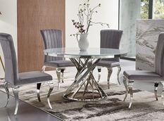 Table à manger ronde design acier chromé et verre trempé Boza
