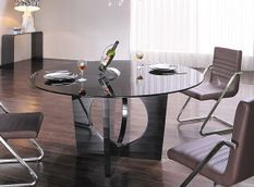 Table à manger ronde design verre trempé noir 150 cm