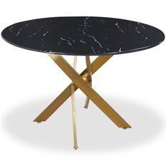 Table à manger ronde verre effet marbre noir et pieds en métal doré Xisor D 120 cm