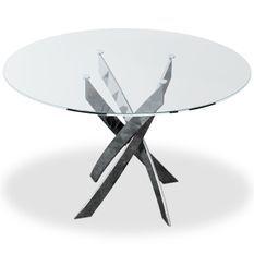 Table à manger ronde verre et pieds en métal chromé Xisor D 120 cm