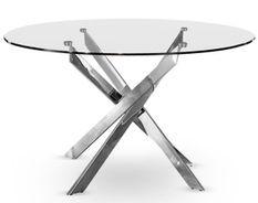 Table à manger ronde verre et pieds métal chromé Kreuz 130 cm