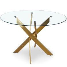 Table à manger ronde verre transparent et pied métal doré Xisor