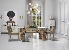 Table à manger teck massif clair et plateau verre Newti