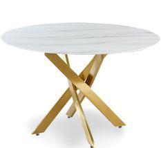 Table à manger verre effet marbre blanc et métal doré Xisor