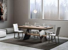 Table à rallonges bois clair et pieds métal gris 6 à 12 places L 160 à 264 cm Bary
