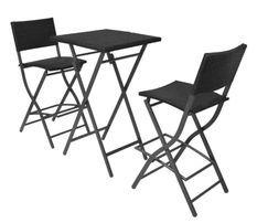 Table bar carrée et 2 chaises de jardin résine tressée noir Klark